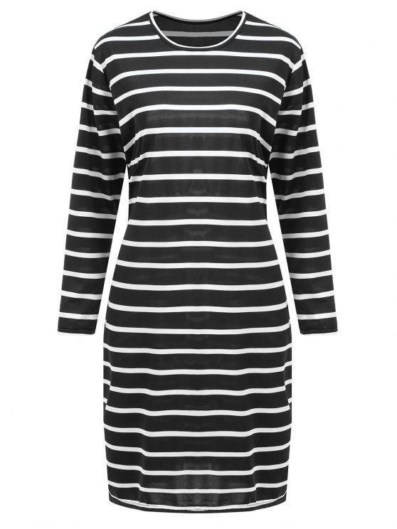 فستان بطول الركبة ذو مقاس كبير - أسود 3XL