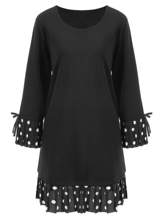 فستان ذو مقاس كبير بأكمام الجرس - أسود 5XL