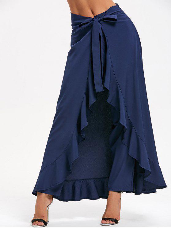 بنطلون تنورة كشكش ربطة المقدمة - أزرق S