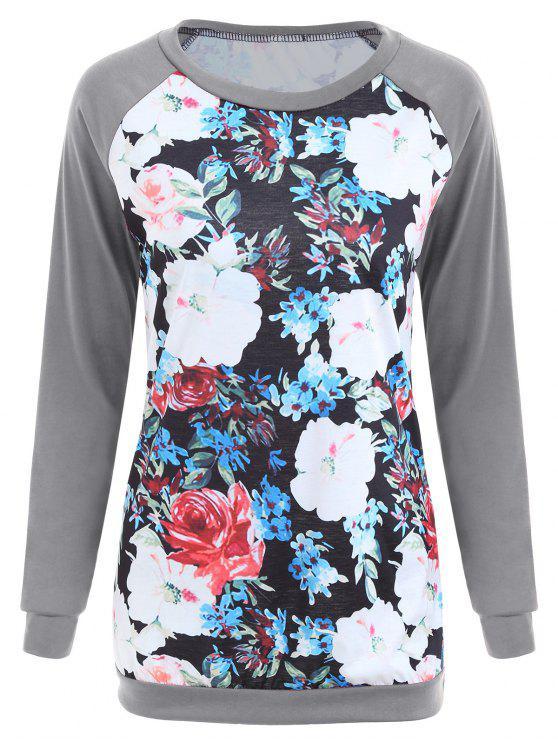 T-shirt manica corta con stampa floreale manica lunga - Grigio 2XL