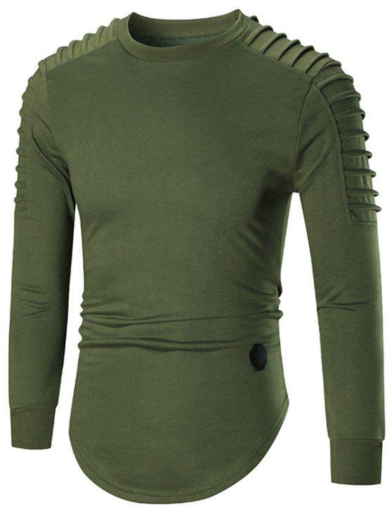 09ec29bd 35% OFF] 2019 Crewneck Ruch Curved Hem Longline T-shirt In GREEN   ZAFUL