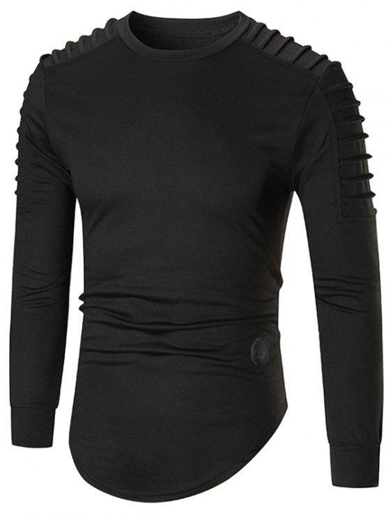 14c9ab9b710 2019 Crewneck Ruch Curved Hem Longline T-shirt In BLACK 2XL