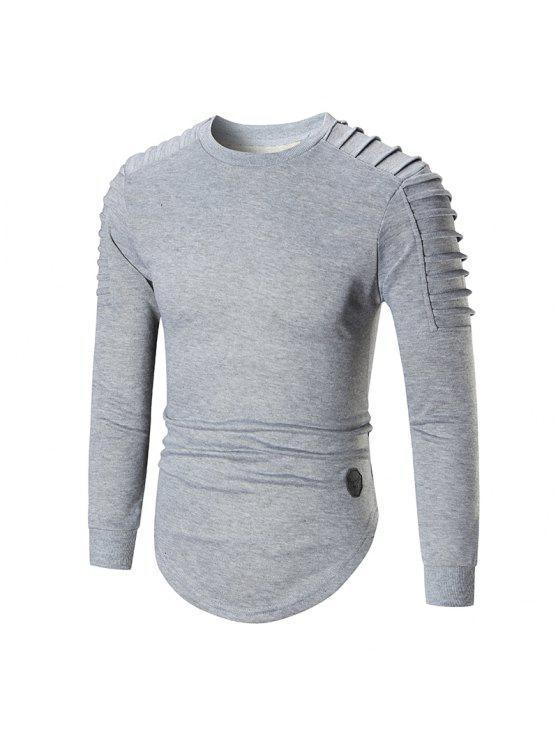 25c9a728 35% OFF] 2019 Crewneck Ruch Curved Hem Longline T-shirt In GRAY   ZAFUL