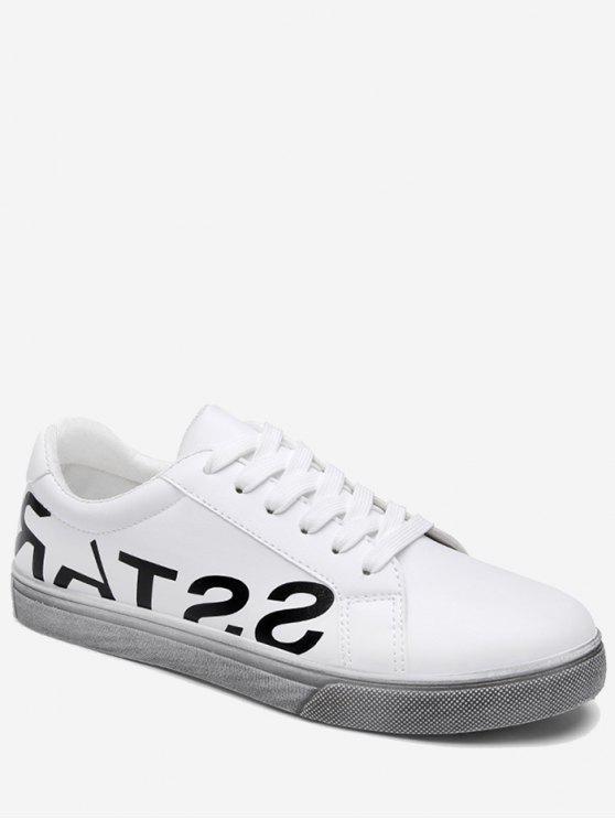 حذاء رياضي طباعة الحرف بجلد اصطناعي - أبيض 40