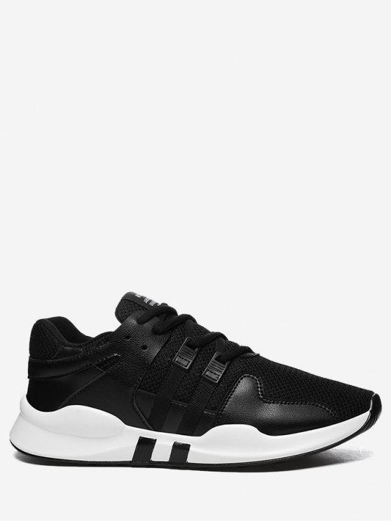 affordable Round Toe Low Top Mesh Sneakers - BLACK 40