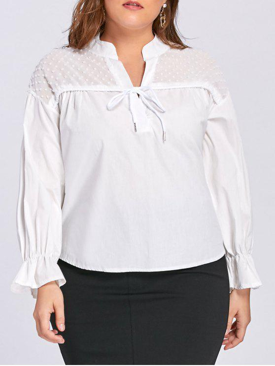 Blusa de cordón transparente, tamaño Plus - Blanco 3XL