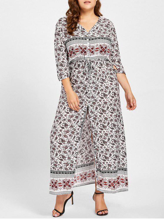 فستان الحجم الكبير انقسام الجبهة طباعة هندسية - أبيض 3XL