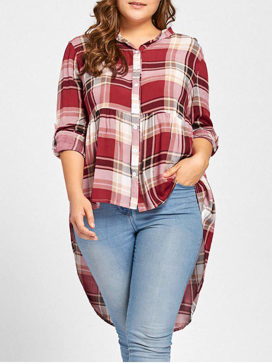 Plus Größe High Low Checked Bluse - Rot 2XL