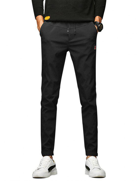 online Applique Drawstring Beam Feet Jogger Pants - BLACK 32