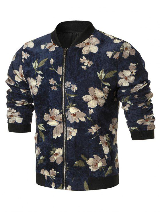 trendy Zip Up Floral Corduroy Jacket - CADETBLUE L