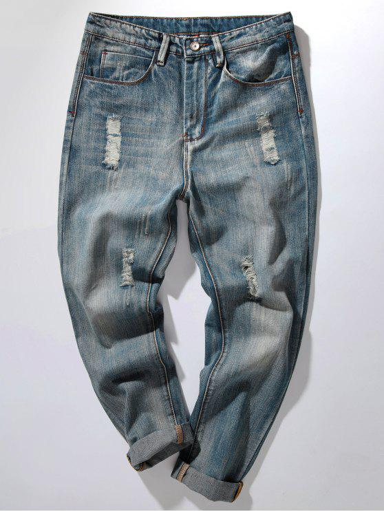 women Zipper Fly Bleach Wash Distressed Harem Jeans - DENIM BLUE 38