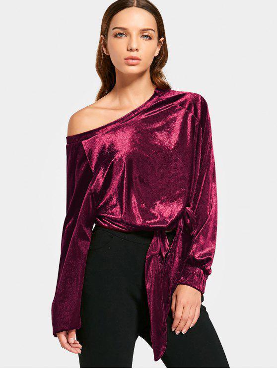 lady Skew Collar Self Tie Velvet Blouse - DEEP RED M