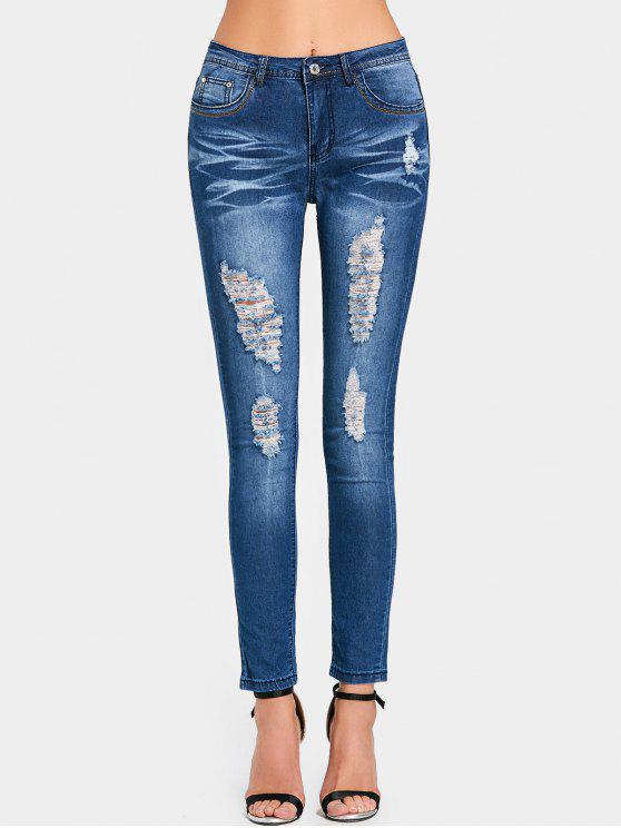 Jeans magros com cintura alta rasgada - Azul Escuro L