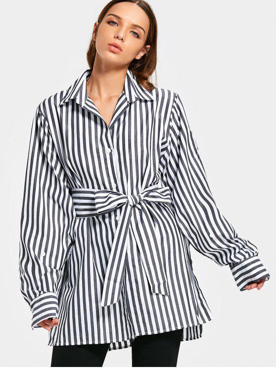 ladies Oversized Side Slit Striped Belted Shirt - BLACK M