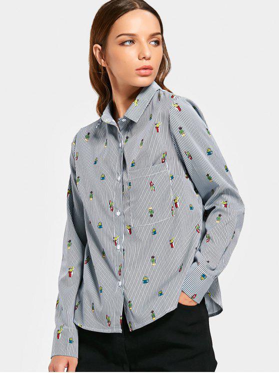 women Cacti Striped Button Up Pocket Shirt - STRIPE S