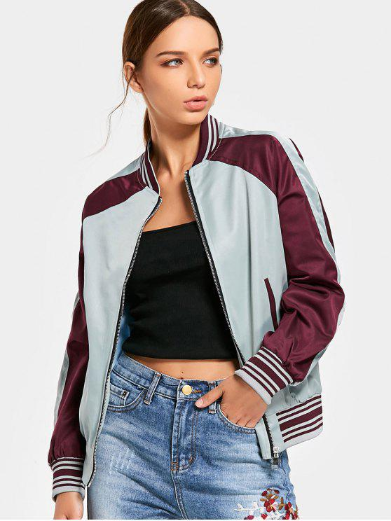 best Contrast Embroidered Patch Zippered Bomber Jacket - WINE RED L