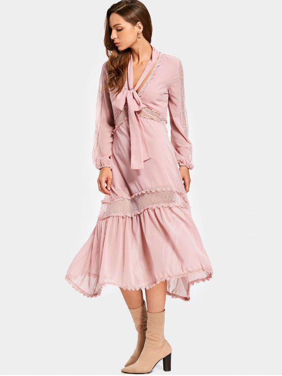 fashion Plunging Neck Mesh Panel Chocker Belt Dress - PINK L
