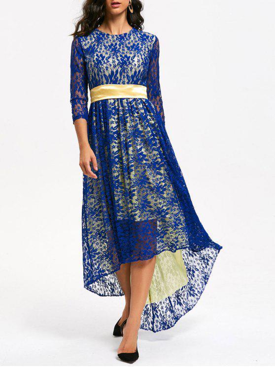 Vestido de fiesta formal de encaje alto bajo - Azul M