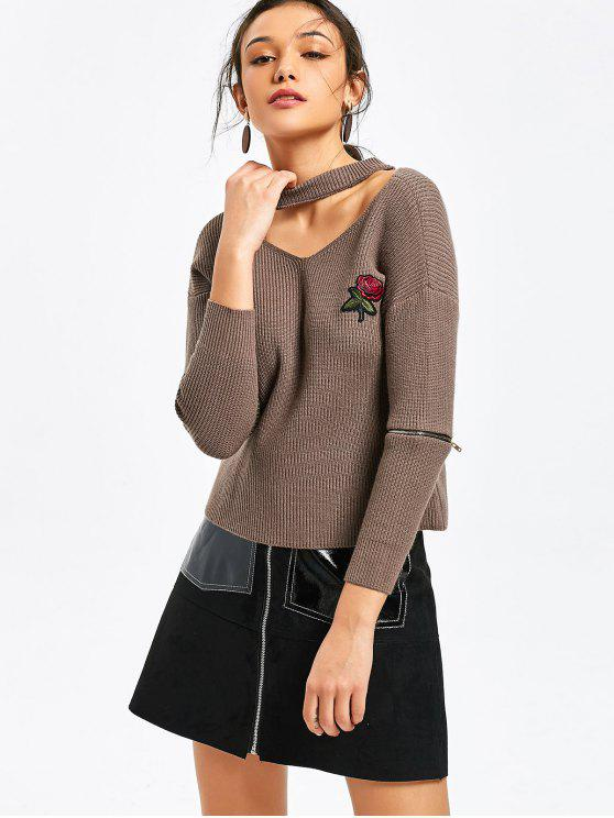 sale Zippered Sleeve Rose Embroidered Choker Sweater - DARK KHAKI ONE SIZE