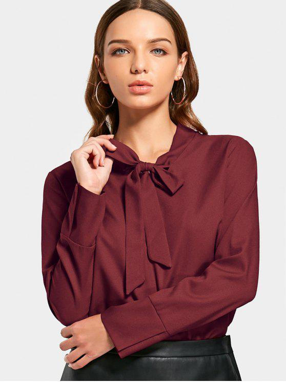 outfits Bowtie Collar Slit High Low Blouse - WINE RED S
