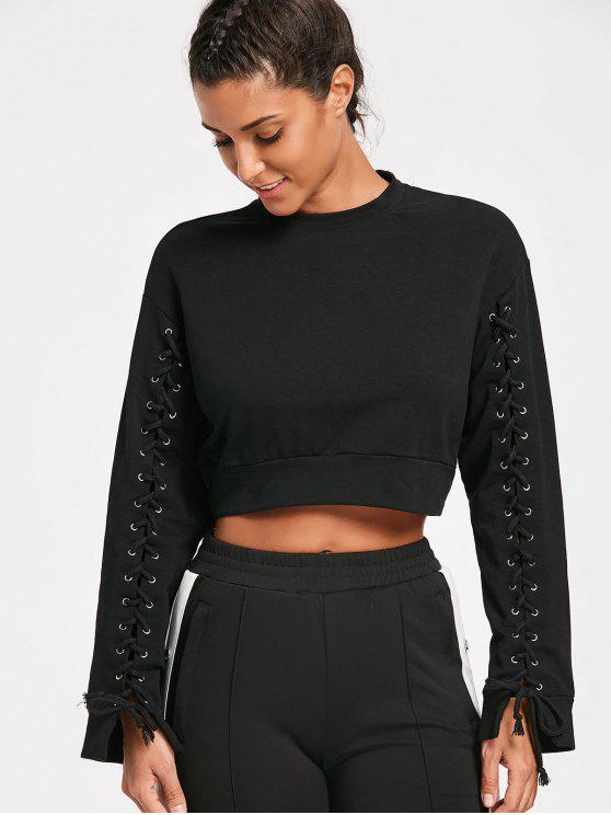Lace Up Sleeve Crop Sweatshirt - Preto M