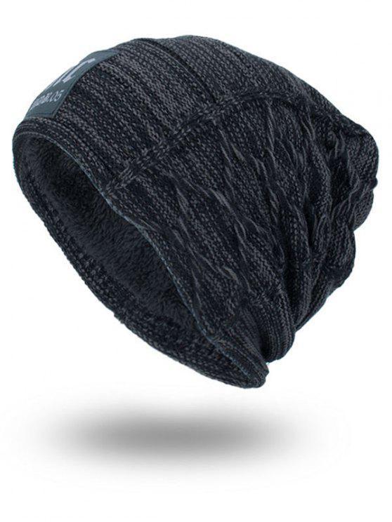 Espesar Sombrero de Punto de Doble Cubierta con Etiqueta de Letras - Gris Oscuro