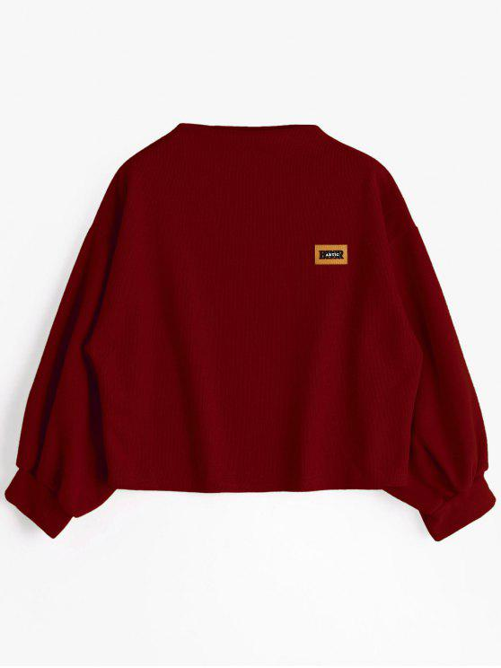 best Badge Patched Lantern Sleeve Sweatshirt - DEEP RED ONE SIZE