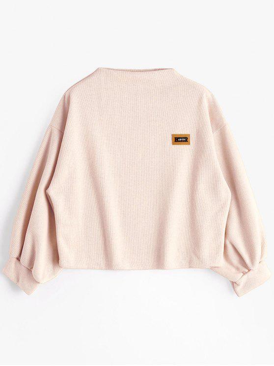 Insignia Patched Lantern Sleeve Sweatshirt - Rosa Claro Talla única