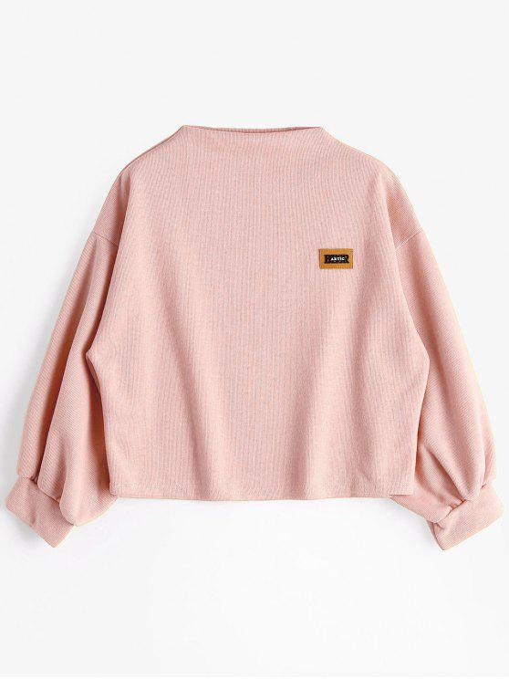 outfit Badge Patched Lantern Sleeve Sweatshirt - PINK ONE SIZE