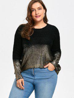 Ombre Glitter Asymmetric Plus Size Sweater - Black Gold