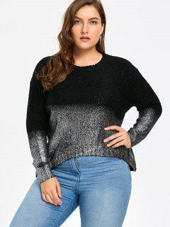 Plus Size Ombre Glitter Asymmetric Sweater - Black + Silver