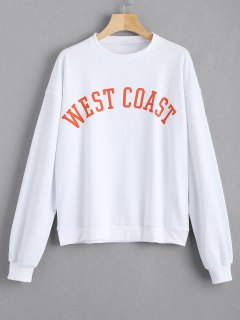 Loose Contrasting Letter Sweatshirt - White M