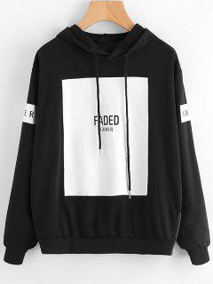 Contrast Letter Drawstring Hoodie - Black 2xl