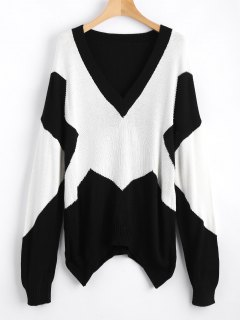 Oversized Two Tone V Neck Sweater - White And Black L