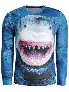 Whale Print Sweatshirt - Blue 2xl