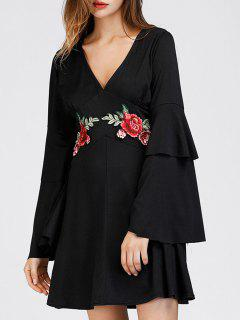 Tiered Flare Sleeve Floral Patched Dress - Black M