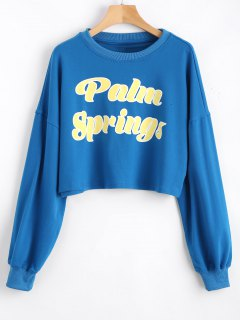 Casual Letter Cropped Sweatshirt - Blue S