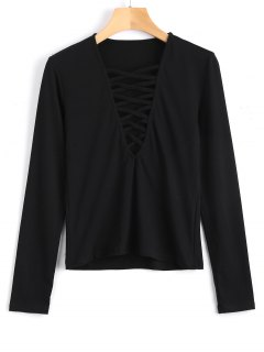 Long Sleeve Criss Cross Layering Top - Black S