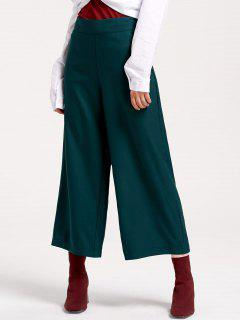 High Waisted Side Zip Pantalon à Jambe Large - Vert Foncé S
