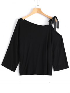 Cotton Tied Strap Cold Shoulder Top - Black Xl