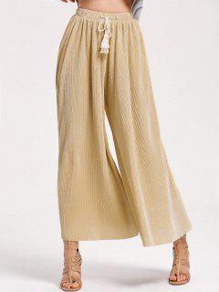 Pleated Tassels Shiny Wide Leg Pants - Golden S