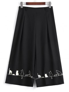 Capri Cartoon Wide Leg Pants - Black S