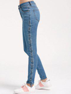 Skinny Lace Up Bleistift Jeans - Denim Blau M