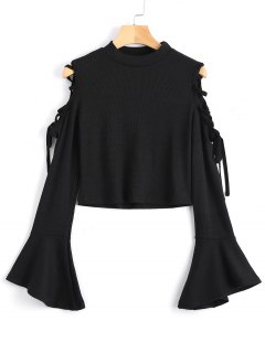 Knitted Lace Up Cold Shoulder Top - Black S