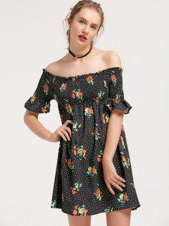 Floral Polka Dot Off Shoulder Mini Dress - Black S