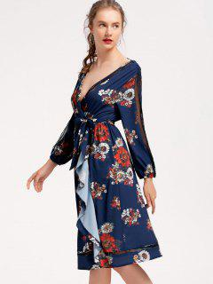 Long Sleeve Floral Ruffles Midi Dress - Purplish Blue S