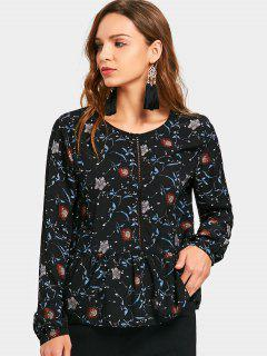 Ruffle Floral Long Sleeve Top - Black S