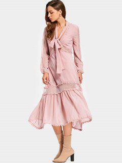 Plunging Neck Mesh Panel Chocker Belt Dress - Pink L