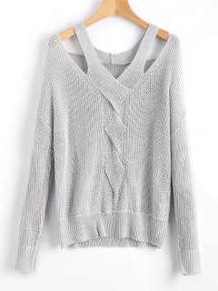 Oversized Cold Shoulder V Neck Sweater - Gray S