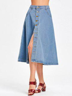 Denim Button Up Midi Skirt - Denim Blue L